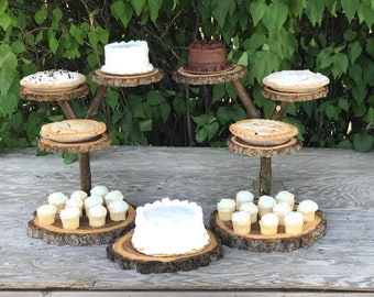 2 Jumbo Log Dark Elm Wood Rustic Cake Cupcake Pie Stands Wedding party shower wooden 4 tiered