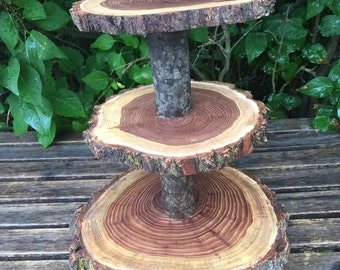 Large Dark Elm Wood Rustic Cake 30 Cupcake Stand Wedding  shower wooden 3 tier, lumberjack party, wild things are, live edge round, boho