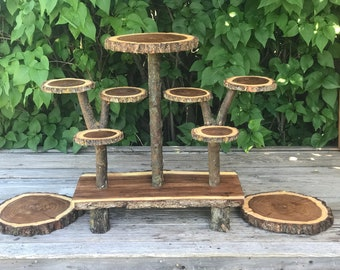 Large Log Dark Elm Wood Rustic Cake 120 Cupcakes Pie Stand Wedding party shower wooden 10 tiered Collapsible