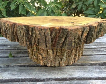 Large Log Black Locust Wood Rustic Cake Cupcake Stand Wedding party shower wooden