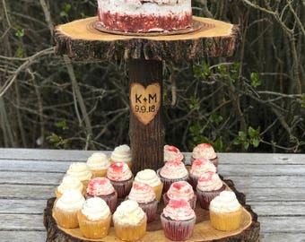 Jumbo Elm Wood Rustic Cake 60 Cupcake Stand Wedding party shower wooden 2 tier