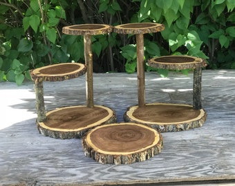 Two Large Log Elm Wood Rustic Cake Cupcake pie Stands Collapsible & a wood slice Wedding party, wild things are shower wooden, boho,