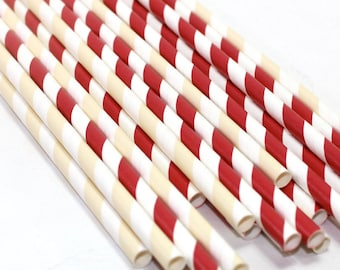 24 Vintage Baseball Themed birthday party baby shower Straws decorations red and white and off white striped