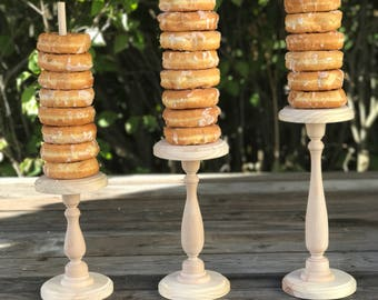 Three Wood Rustic Donut Stands Wedding party shower wooden, Donut Plain Stand w/screw-in dowel