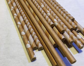 24 kraft paper straws chevron stripe polka dots Rustic Log camping natural s'mores campfire outdoor woodsy wedding party shower girl natural