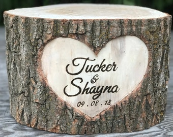 Large Log Wood Stump (15-16in) Rustic Cake Stand with wood burned Names and Date surrounded by a heart Wedding party shower wooden, boho