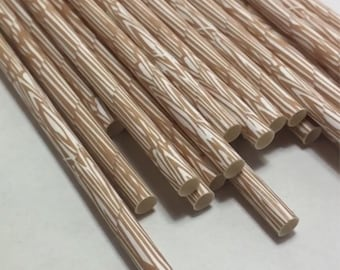 WoodeN wood grain paper straws Rustic Log camping natural s'mores campfire outdoor woodsy weddinv party shower lumberjack