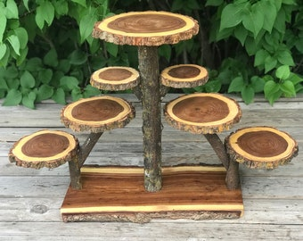 Large Log Elm Wood Rustic Cake 90 Cupcakes Pie Stand Wedding party shower wooden 7 tier Collapsible, lumberjack party, wild things are, boho