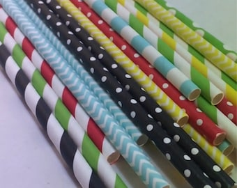 24 Charlie BroWn snoopy PeaNuts party straws blue yellow red black green striped stripes birthday party bridal baby shower