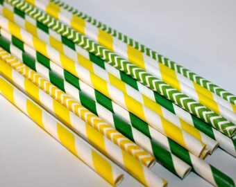Yellow and Green John Deer Tractor farm birthday party Shower 24 Paper striped chevron polka dotted stripes Straws