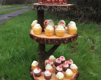 Collapsible Jumbo Log Pine Wood Rustic Cake Cupcake Stand Wedding party shower wooden 3 tiered, lumberjack party, boho, wild things ar