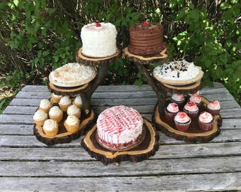 Large Log Elm Wood Rustic Cake 70 Cupcakes Pie Stand Wedding party shower wooden 6 tiered, Lumberjack Party, boho, wild things are party