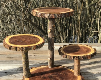 Large Log Elm Wood Rustic Cake 65 Cupcake Collapsible Stand Wedding party shower wooden, donut, lumberjack party, boho, wild things are