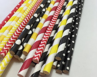 Mickey mouse hollywood movie night birthday Party red yellow black Striped polka dot chevron Paper Straws