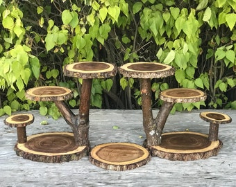 2 Cascading tier Stands Wood Rustic Cake Cupcake Stand Wedding party shower wooden 4 tiered Step, lumberjack party, boho, wild things are