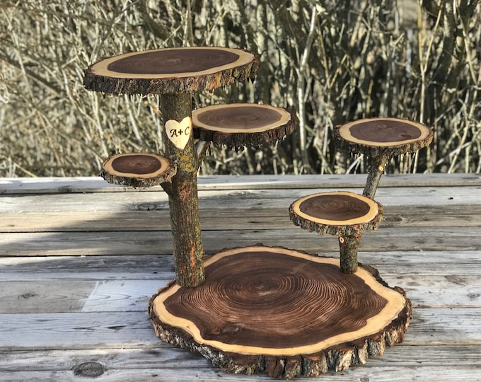Featured listing image: Wood burned initials, date heart Collapsible 6 Tier Elm Rustic Cake Cupcake jewelry plant Stand Wedding party shower wooden 6 tiered