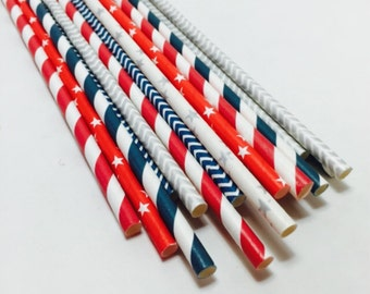 New England PATRIOTS Superbowl paper straws red silver and blue party supplies tailgate football navy chevron striped supervowl party