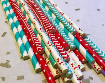 Cherry bowl on top party paper straws red teal aqua retro gingam summer birthday party baby shower bridal engagement cherries decorations