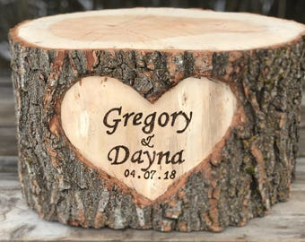 Large Log Wood Stump (9-10in) Rustic Cake Stand with wood burned Names & Date surrounded by a heart, wedding party shower