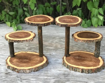 Two Large Log Elm Wood Rustic Cake Cupcake Stands Collapsible Wedding party, wild things are shower wooden, boho, 3 tiered stand