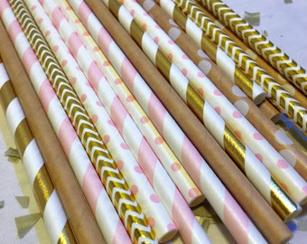kraft good pink paper straws Rustic Log camping natural s'mores campfire outdoor woodsy wedding party shower girl natural craft