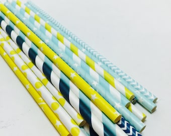 Striped star chevron paper straws Nursery rhyme goodnight moon stars baby shower birthday party blue yellow navy striped chevron polka dotte