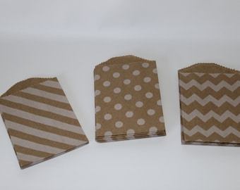 Itty Bitty chevron polk dots striped kraft  plain white paper goodie bags advent calendar stocking stuffers christmas favorite things party