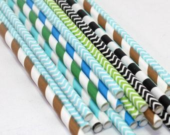 24 Little Man birthday party baby shower Straws decorations blue green brown black chevron stripes polka dots