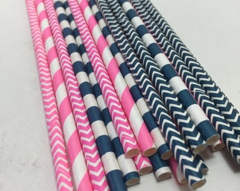 24 Ahoy Matey girl pink navy Nautical Sailor Man Themed birthday party baby shower Straws decorations chevron stripes