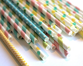 24 Easter pastel green yellow pink chevron polka dot dotted graduation striped stripes paper straw first birthday party bridal baby shower