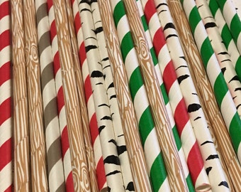 LUMBERJACK WoodeN wood grain red green birch paper straws Rustic Log camping natural s'mores campfire outdoor woodsy wedding party shower
