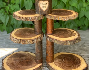 Perfect Harmony Collapsible Log Elm Wood Rustic Cake 110 Cupcake Stands Wedding party shower wooden 7 tiered