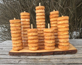 Large Log Wood Rustic 60 Donut Stand Wedding party shower wooden, Donut Stand w/screw-in dowels