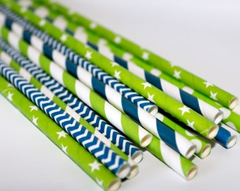 Superbowl party SeattLe SEAHAWKS 12th man paper straws party supplies tailgate football navy chevron striped supervowl party