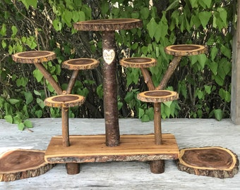 Personalized Large Log Dark Elm Wood Rustic Cake 120 Cupcakes Pie Stand Wedding party shower wooden 10 tiered Collapsible w/wood burning