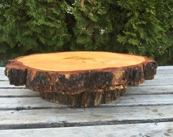 X-Large Log Pine (14-16in) Wood Rustic Cake Cupcake Stand Wedding party wooden, lumberjack party, boho, wild things are, live edge round