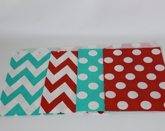 12 red and Teal Turquoise chevron and polka dot paper good favor bags for popcorn cookies pretzels  carnival vintage circus party halloween