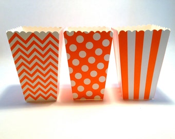 12 Orange and white striped chevron polka dot dotted goodie treat popcorn boxes halloween harvest classroom class party favors wedding baby