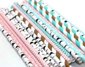 24 cowgirl Straws pink teal farm cow barn themed chevron polka dot dotted striped stripes paper straw first birthday bridal baby shower