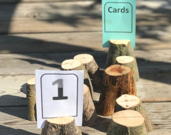 10 Log Wood table number place card food tent food label stands holders placecard place card Wedding party shower wooden