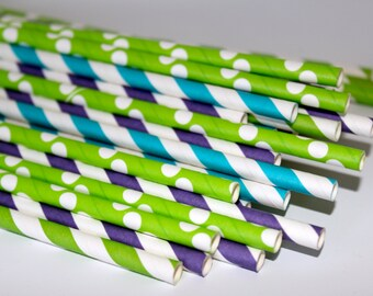 MonsTers Inc Birthday party paper straws stripes polk dots purple lime green teal turquoise chevron polka dot