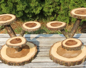 2 Large Log Elm Wood Rustic Cake Cupcake Stands Wedding party shower wooden 4 tiered, lumberjack party, boho, wild things are, live edge
