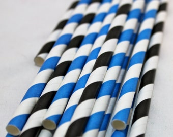 24 blue and white black and white striped paper straws for Star Wars birthday bachelor party