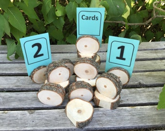 10 Log slice Pine Wood table number place card food tent label stands placecard place card mini Cupcake Stand Wedding party shower wooden