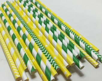 GrEEnBay PackErs nfl party superbowl tailgate cheesehead paper straws green and yellow party supplies tailgate football chevron striped