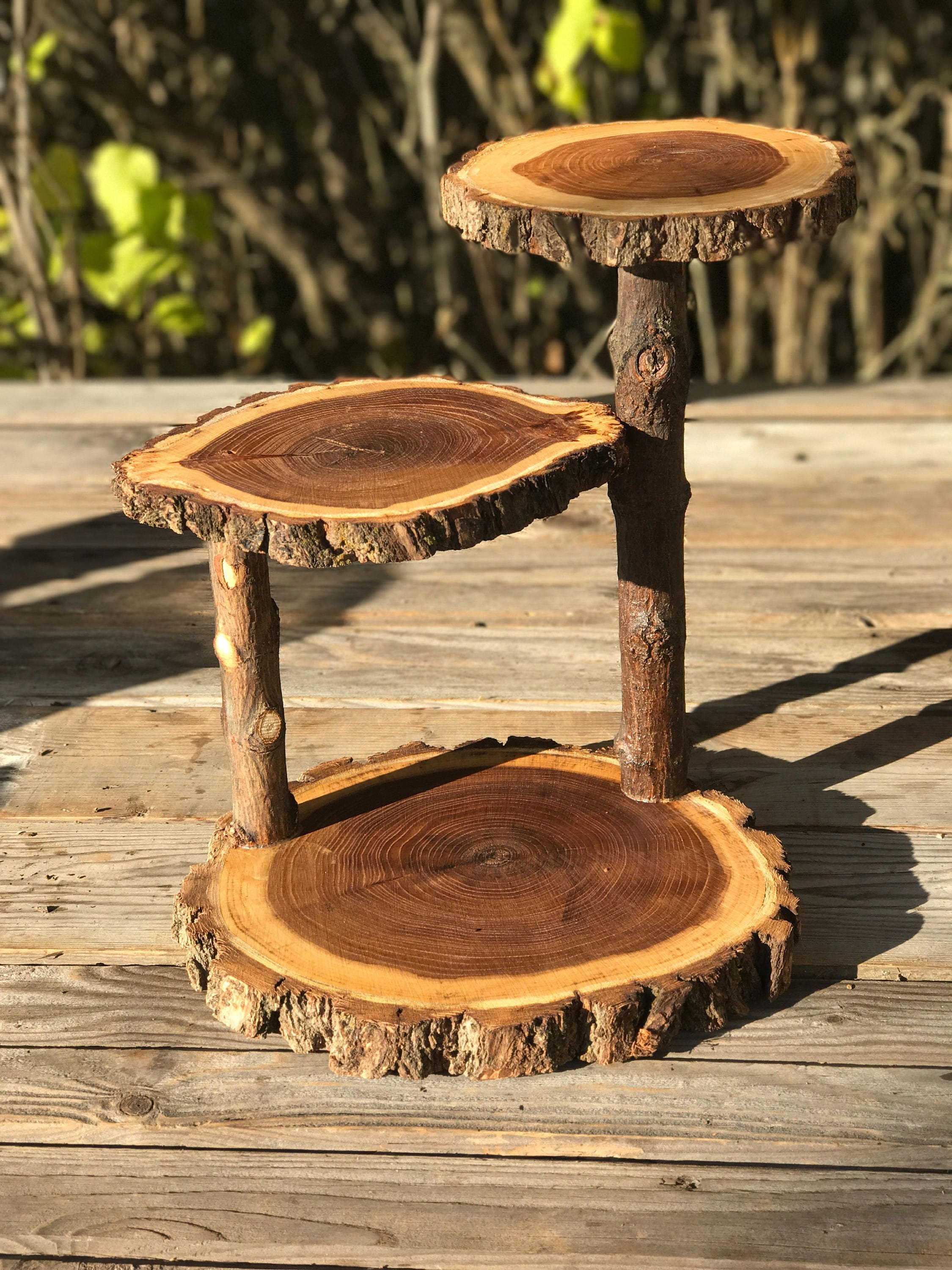 Jumbo 3 Tiered Elm Wood Rustic Cake 30 Cupcake Stand Collapsible
