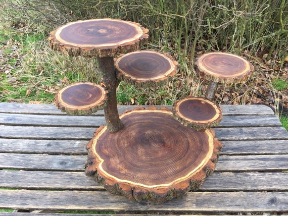 Large Log Dark Elm Wood Rustic Cake Cupcake Collapsible Stand Etsy