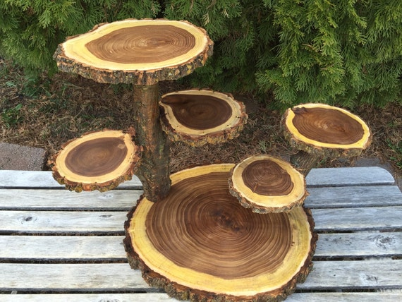 Large Log Wood Rustic Cake Cupcake Collapsible Stand Wedding Party