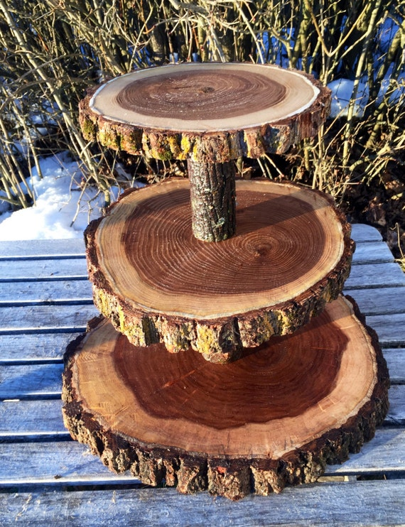 Large Log Elm Wood Collapsible Rustic Cake 70 Cupcake Or 120 Etsy