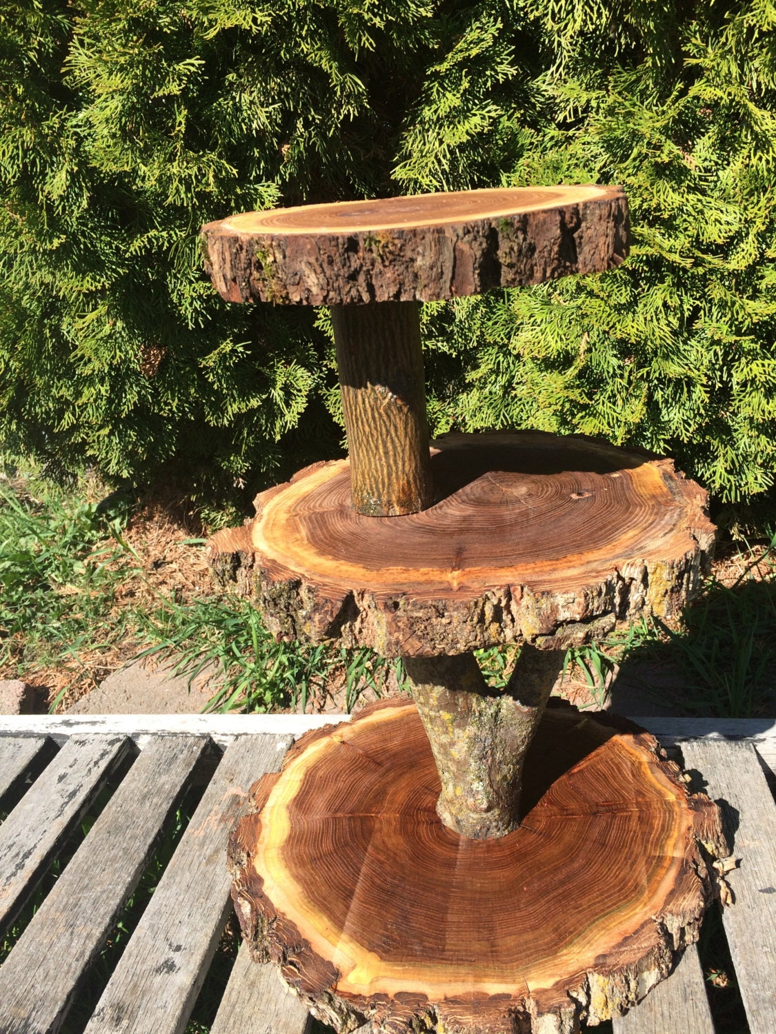Sensational Large Log Elm Wood Rustic Cake Cupcake Stand Wedding Party Ibusinesslaw Wood Chair Design Ideas Ibusinesslaworg